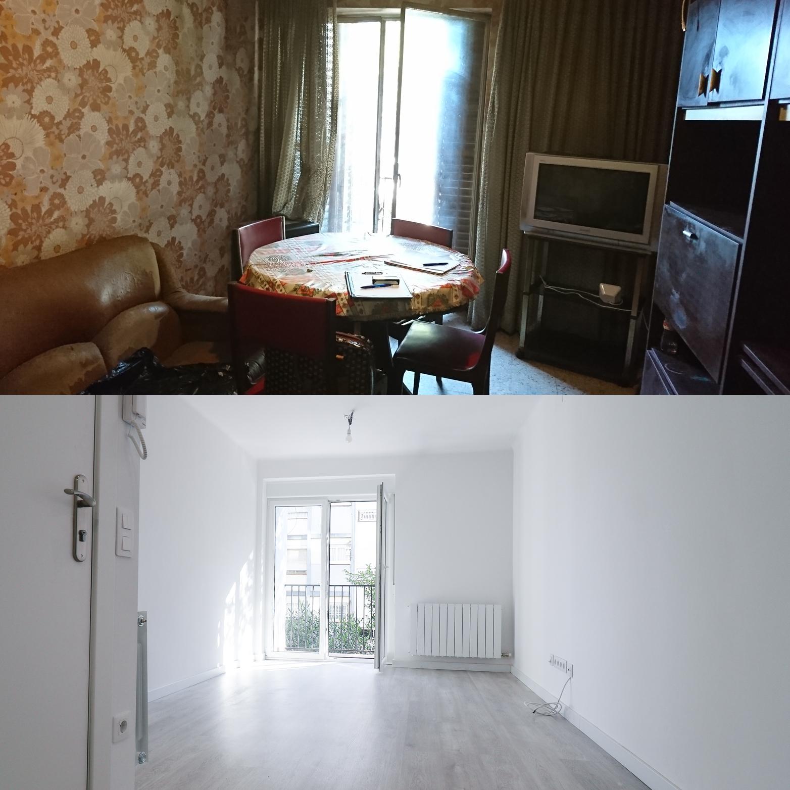Antes y después de un piso en Barcelona